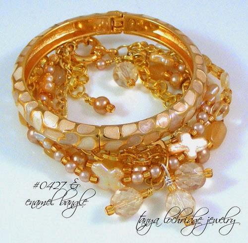 Vintage Enamel & Pearl Cross Bracelet