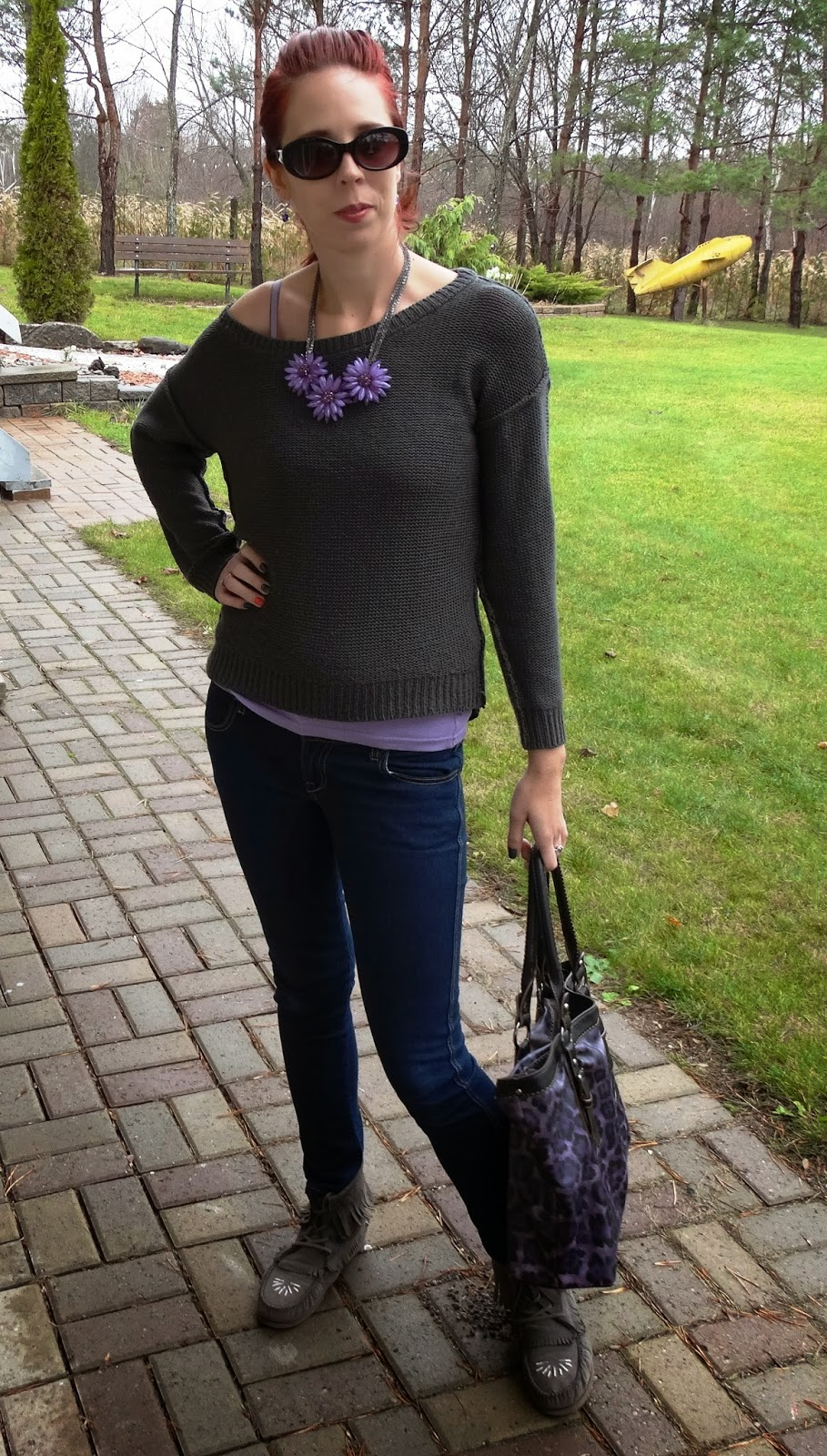 M for Mendocino Ripped Sweater, Suzy Shier Purple Flower Necklace, Bluenotes Skinny Blue Jeans, Zigi Soho Moccasins, Sunglasses from Shoppers Drugmart, Purple David Jones Bag from Sears Canada, Fashion Blogger from Toronto, Melanie.ps, The Purple Scarf Winter Casual Look Tank top from Forever 21