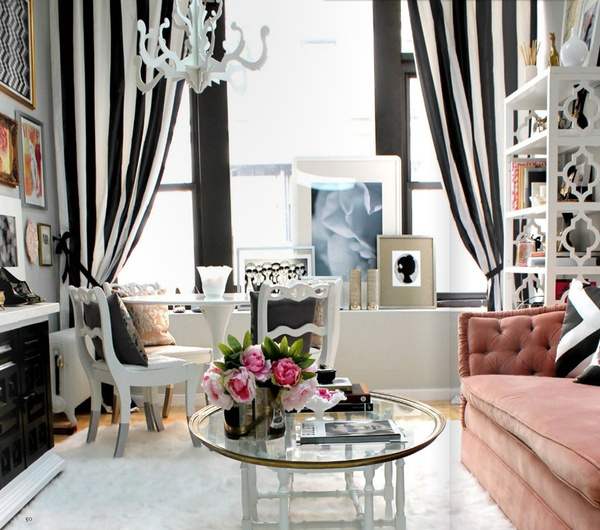 The peak of tr s chic black and white and striped all over for Curtains for black and white living room