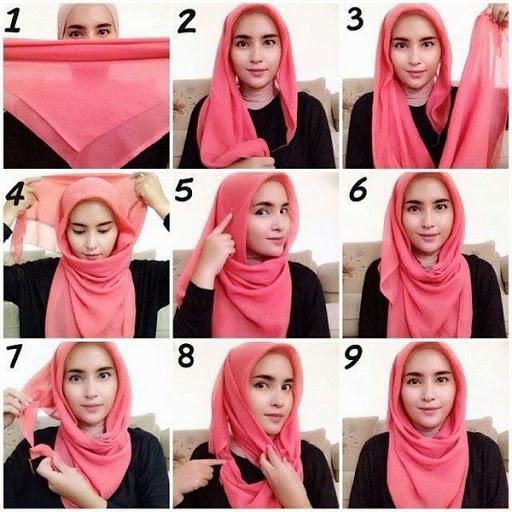 contoh tutorial hijab segi empat kreasi trend terbaru 2015/2016