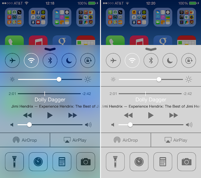 iOS 7 Blur efect disable