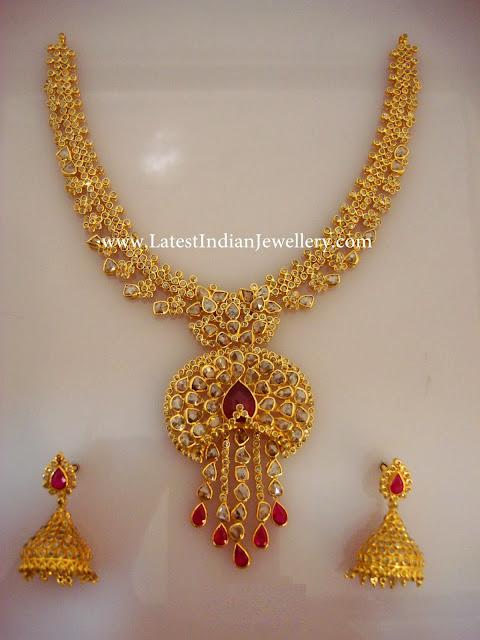 Uncut Diamond Gold Necklace