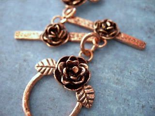 copper toggle clasps with roses