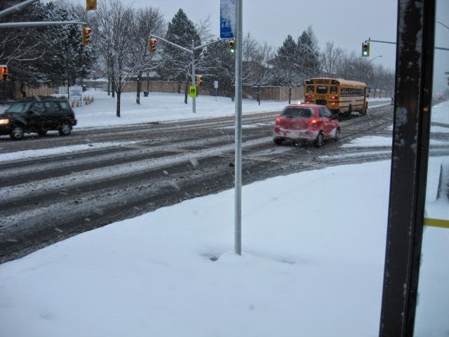 Waiting for the bus to arrive while snowing. Somewhere in Toronto (Thornhill, Vaughan, ON, Canada) in 2010.