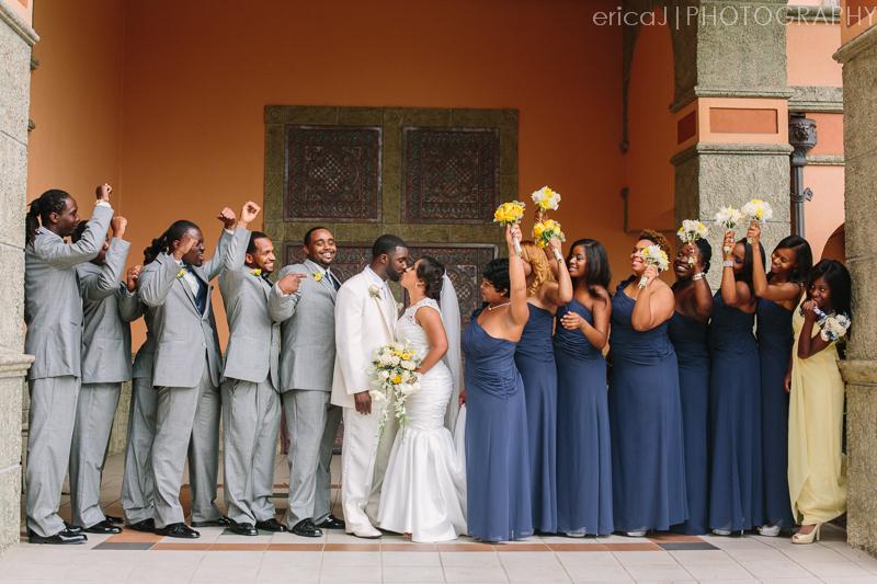 navy and yellow wedding photo