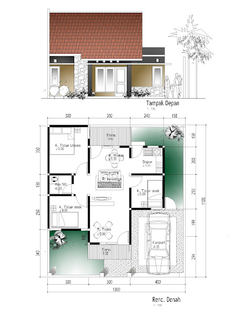 Ide untuk Denah Rumah Type 60 1 Lantai Dan 2 Lantai yang inspiratif