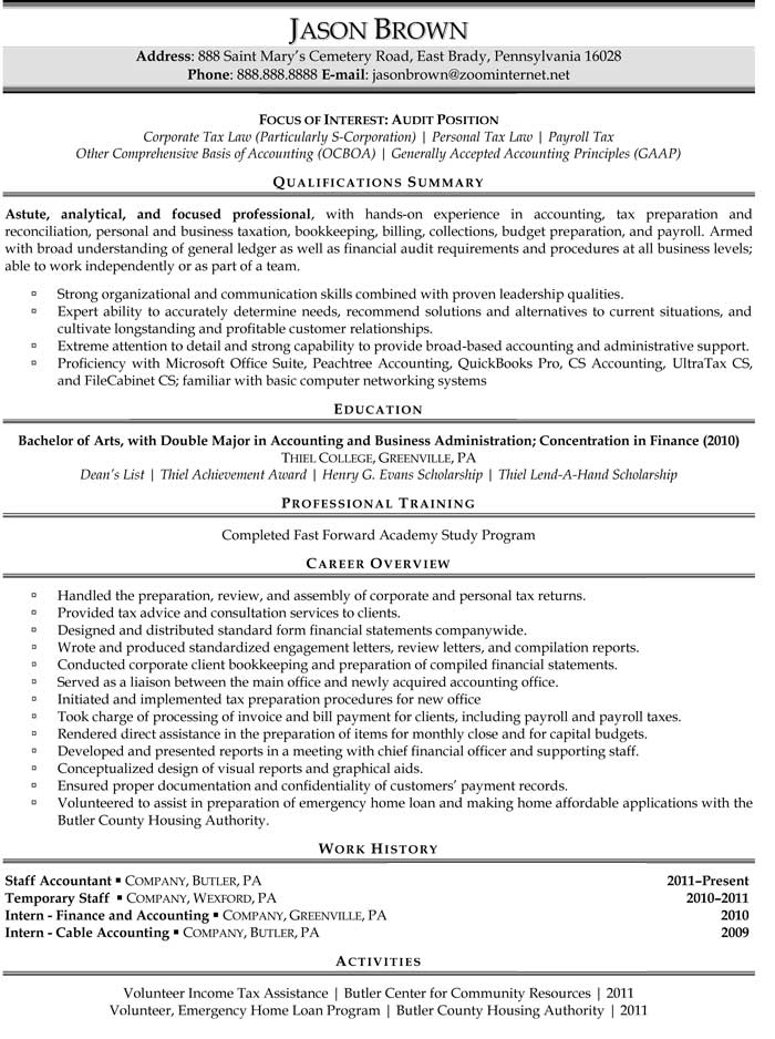 example resume for accountant
