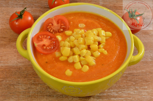 Zupa marchewkowo-pomidorowa z kaszą jaglaną