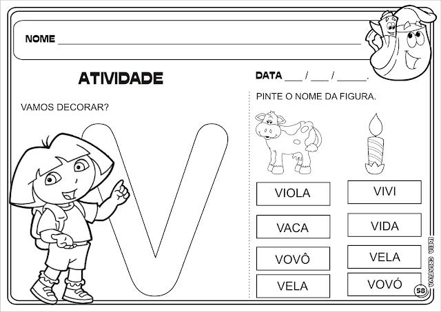 Atividade Letra V Dora Aventureira