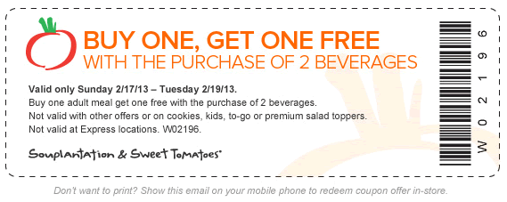 Sweet tomatoes mobile coupons