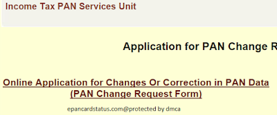 Pan Card Online Correction Changes