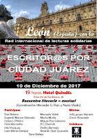 """Encuentro """"Escritores/as por Ciudad Juárez"""", en León"""