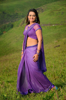 Ester Noronha Looks Sizzling Stunning Gorgeous in Purple Saree Must See HQ Pics