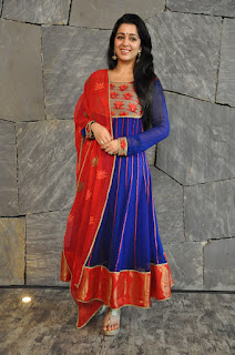 Charmi Kaur in Purple Anarkali Dress with Red Dupatta and Red Bottom from Piatrends.com