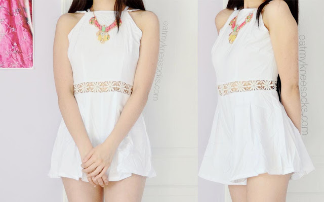 Front and side views of the cute, short white romper with crochet-floral-cutout details, from Fanewant, aka nicedress.storenvy.com.