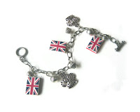 Union Jack Charm Bracelet made from polymer clay by Lottie Of London, uk bracelet,
