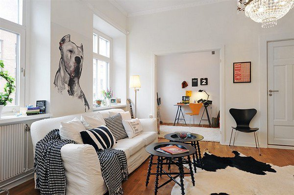 Comfortable Living Space With White Sofa And Funny Dog Wall Sticker