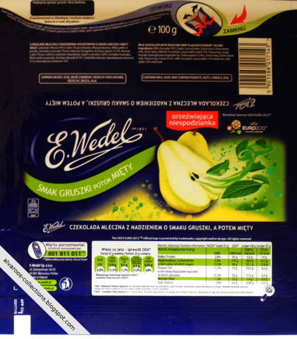 Chocolate wrappers collection - Wedel - pear & mint