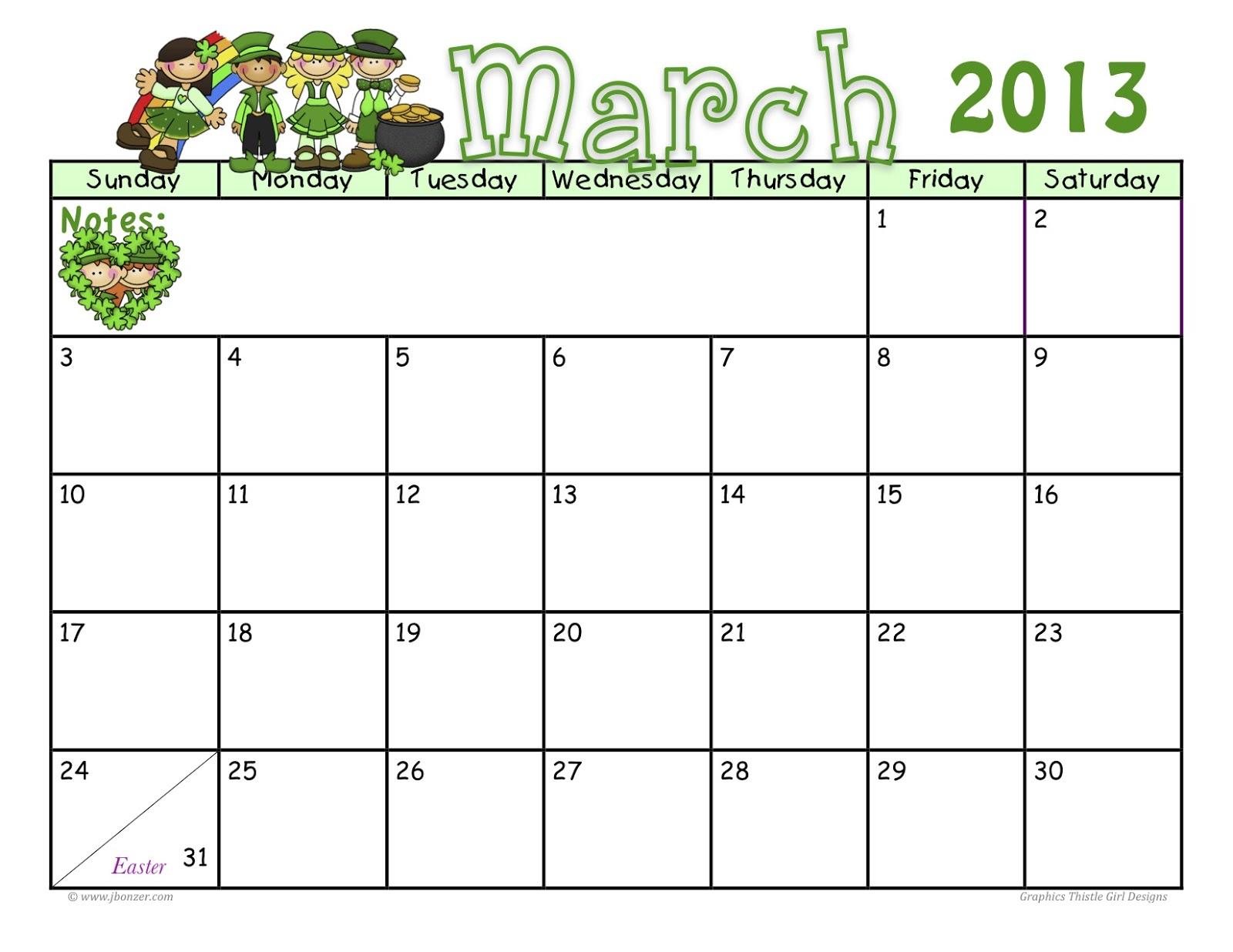 March 2013 Calendar | MyFreePrintable.com