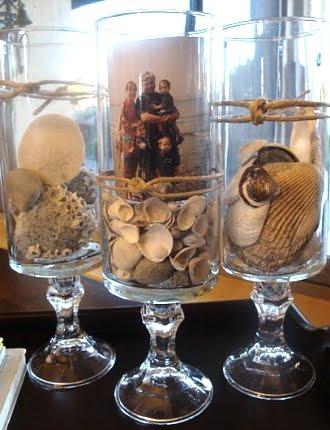 photo display in vase