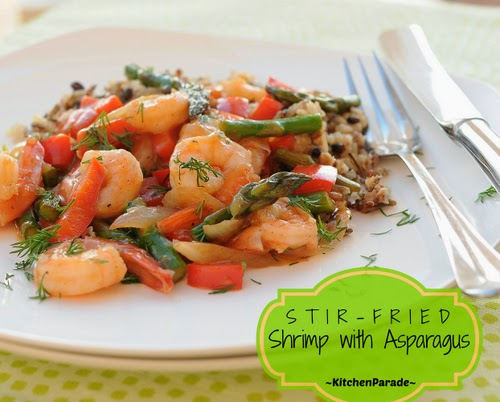 Stir-Fried Shrimp with Asparagus or other fresh summer vegetables, addictive sweet 'n' sour hot sauce. Recipe, insider tips, nutrition, Weight Watchers points at Kitchen Parade. Low carb, gluten-free.