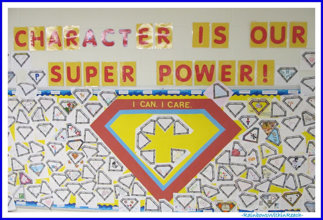 "photo of: ""Character is our Super Power"" Bulletin Board via RainbowsWithinReach"