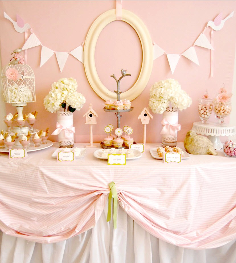 Pink birdie baby shower guest feature celebrations at home for Baby shower decoration ideas for girl