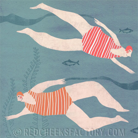 two ladies swimming in the sea