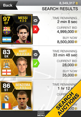 FUT 13 iOS App - Search Auctions - FIFA 13 Ultimate Team