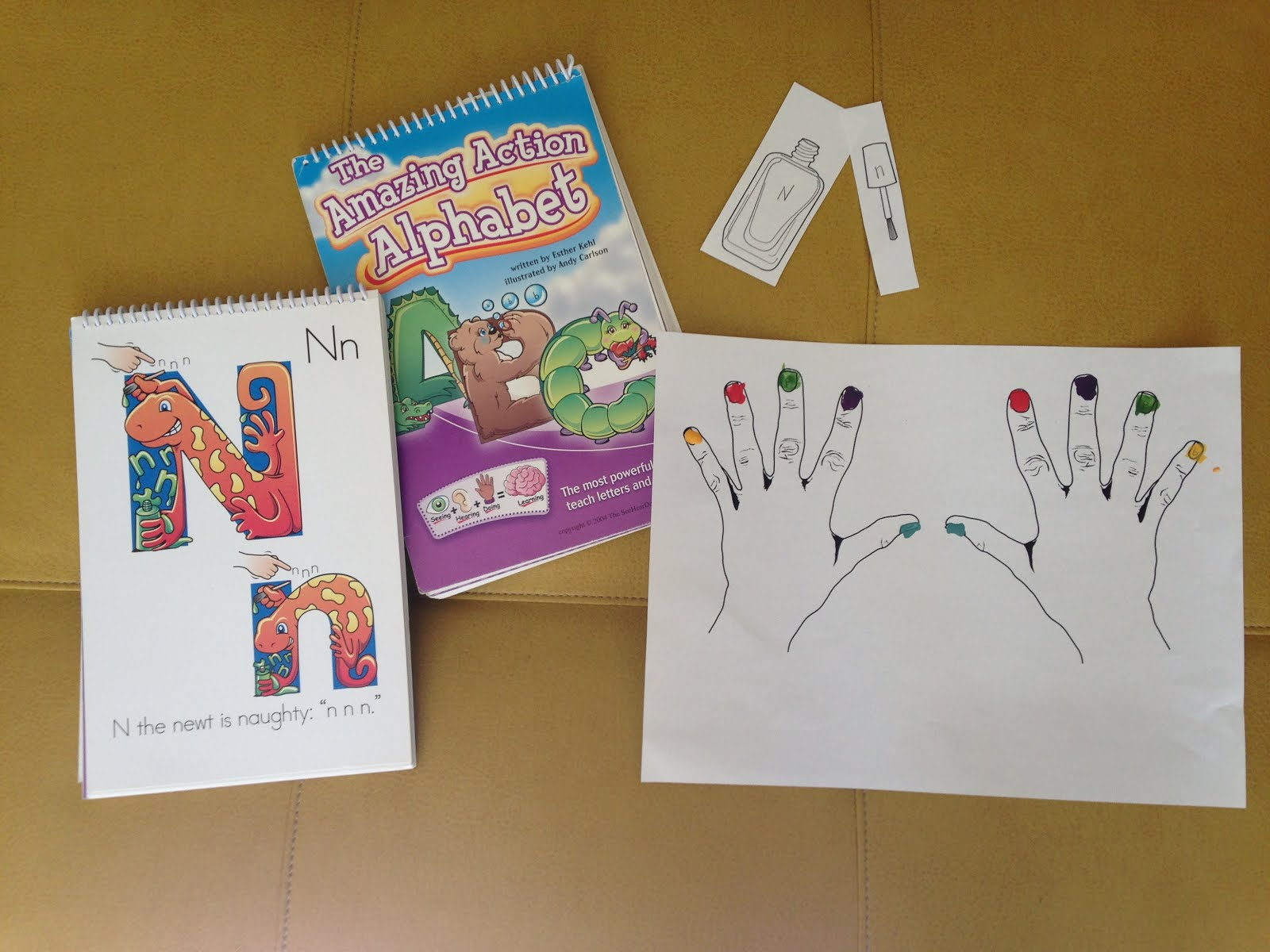 Amazing Action Alphabet: Reviewing Letters with Nail Polish on N Day