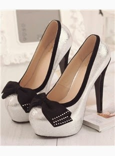 White PU Closed-Toe Bowknot Stiletto Heel Pumps