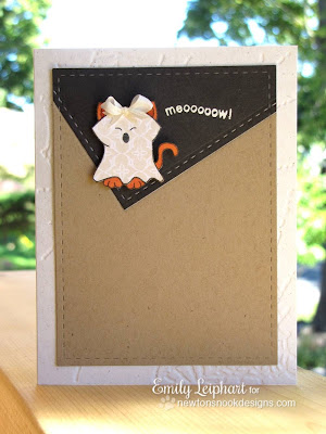Kitty Ghost Card by Emily Leiphart for Newton's Nook Designs