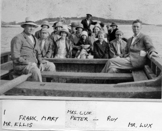 Ellis, Woodcock, Legg, and Lux family on boat in Isles of Scilly 1930s