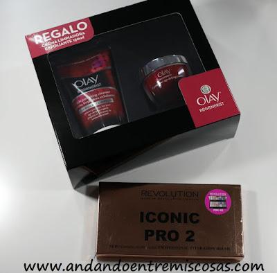 Crema y limpiadora facial de Olay y paleta Iconic Pro 2