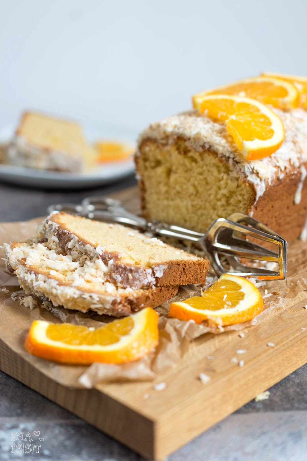 ina is s t einfacher orangen kokos kuchen quick and easy orange cake with coconut. Black Bedroom Furniture Sets. Home Design Ideas