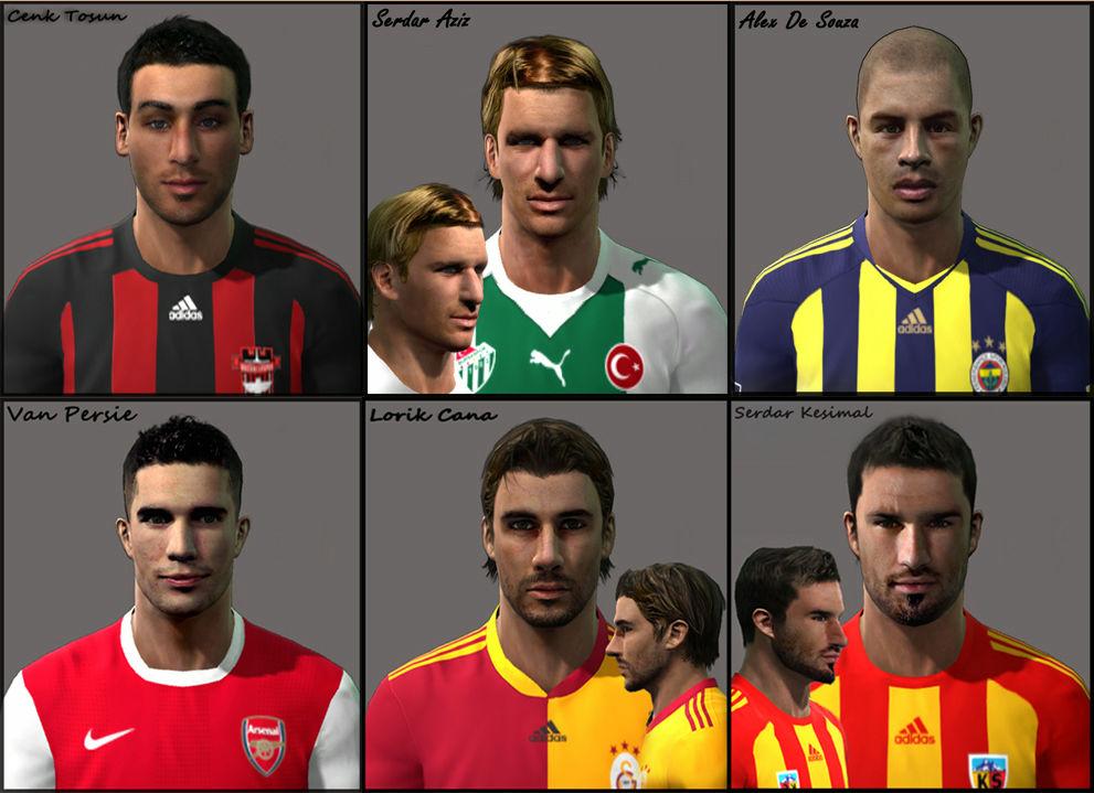 PES 2011 Alex, Cana, Cenk Tosun, Serdar Aziz, Serdar Kesimal, van Persie Face Pack Preview