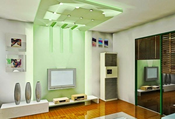 false ceiling lights for living room: living room with ceiling green light - 33 Cool Ideas For LED Ceiling Lights And Wall Lighting Fixtures 2016