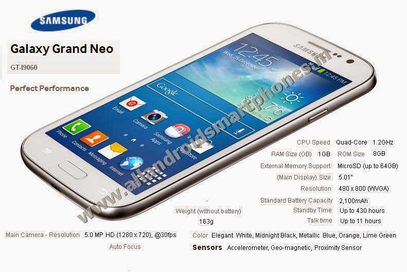 Samsung Galaxy Grand Neo Dual Sim 3G Android Phablet White Color Front Side Image Photo Review