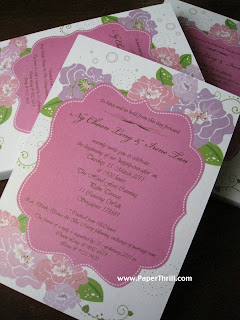 Pastel peonies wedding invitation