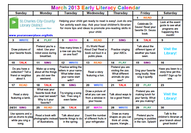 Calendar Ideas For March : The show me librarian why we offer an early literacy calendar
