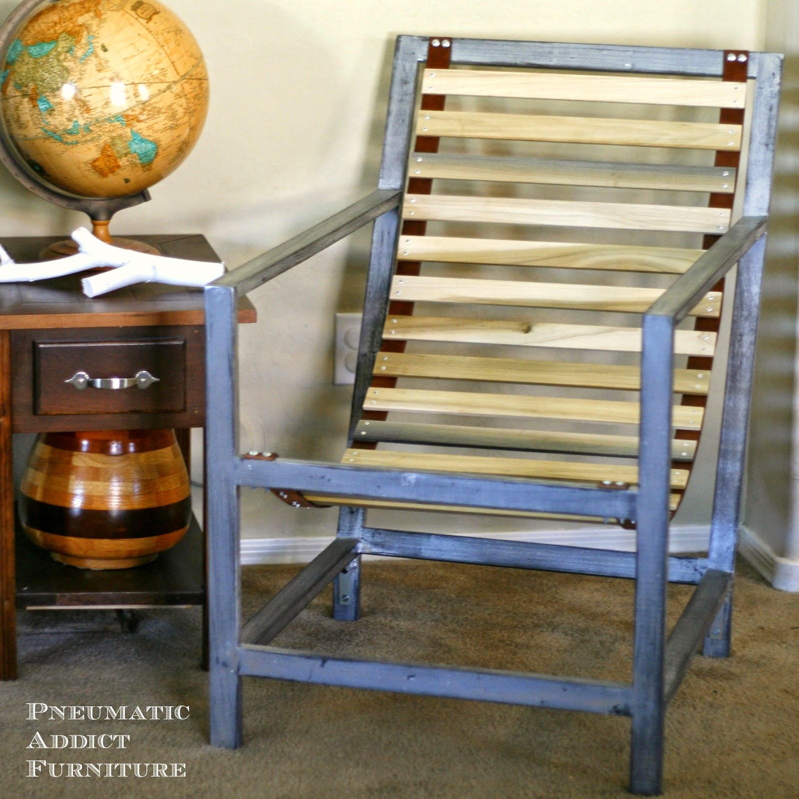 Pneumatic Addict Wood and Leather Sling Chair