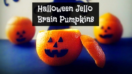 How to Make Halloween Jello Brain Pumpkins (hallows' eve) vvia holiday knight geniusknight.blogspot.com Halloween treats