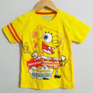 Baju Anak Karakter Spongebob Nic Kuning Size 1 - 6 Tahun