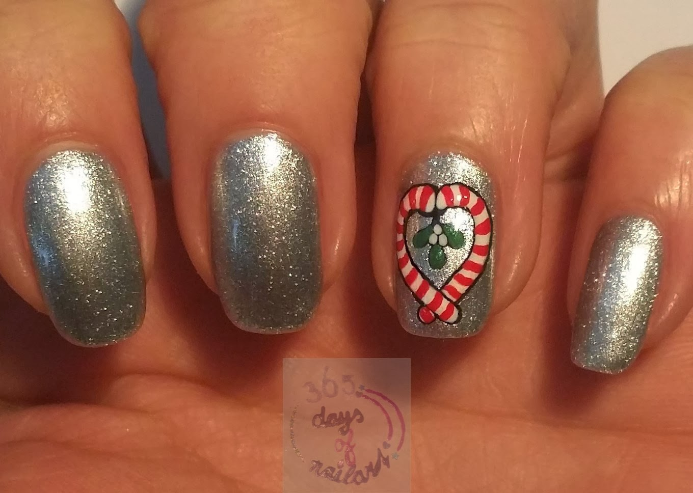 365 Days Of Nail Art Day 343 Candy Canes And Mistletoe