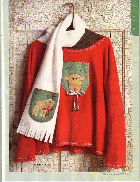 Este año utiliza este sencillo aplique de navidad para decorar un sueter o una bufanda de los niños.