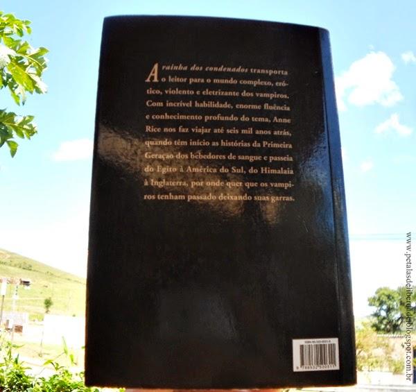 Contracapa, Resenha, livro, A rainha dos condenados, Anne Rice, trechos, quotes, Crônicas Vampirescas, comprar, sinopse, livro sobre vampiros