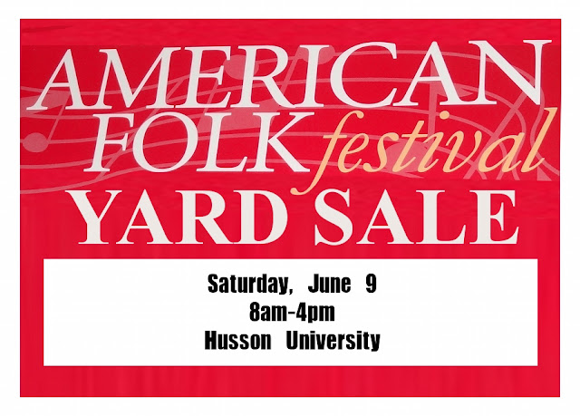 American Folks Festival, Bangor,Yard Sale,sign,Husson University