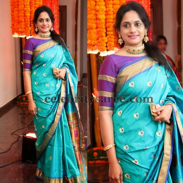 Pretty Lady Blue Traditional Saree