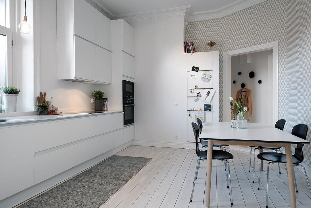 Una cocina n rdica con papel pintado meu canto blog - Papel pintado cocinas ideas ...