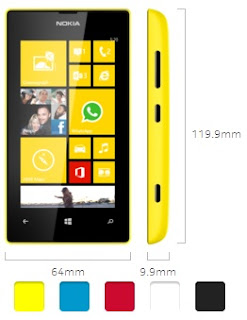 Nokia Lumia 520, dimesiones y colores disponibles